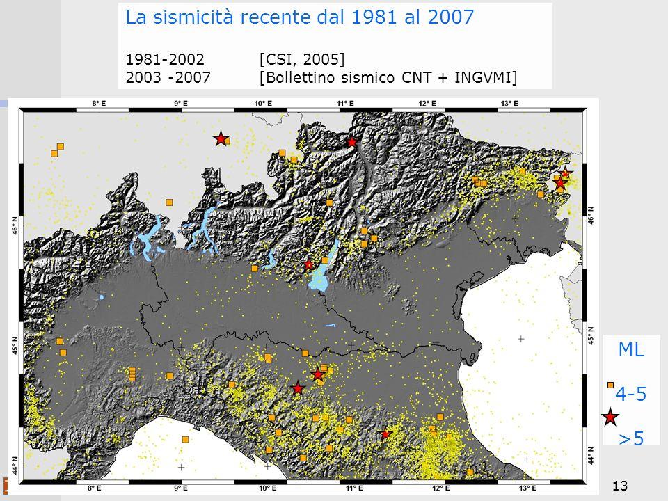 La sismicità recente dal 1981 al 2007 1981-2002 [CSI, 2005] 2003 -2007 [Bollettino sismico CNT + INGVMI]